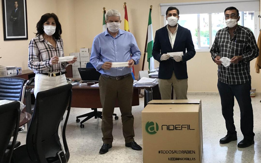 Andefil realiza una donación de 1.000 mascarillas al Ayto. de Santiponce